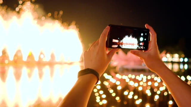 Smartphone and fireworks. video