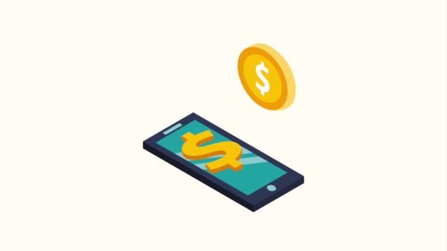 stockvideo's en b-roll-footage met smartphone bedrijf geld - isometric