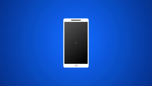 smartphone call with vector icon and ringing animation 4k rendered video on blue background. - hand holding phone filmów i materiałów b-roll