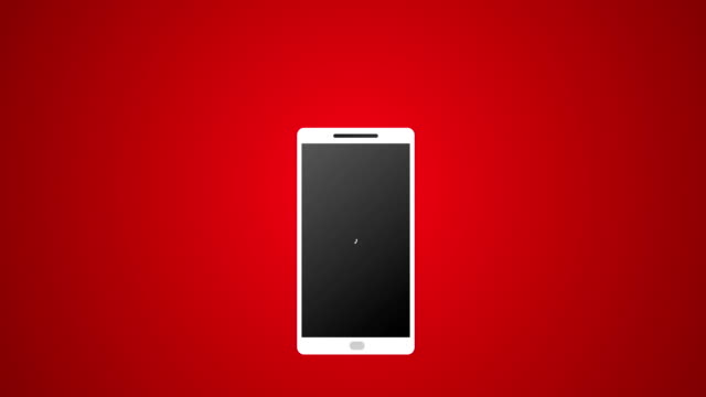 smartphone call with white icon and ringing vector animation 4k rendered video on red background. - hand holding phone стоковые видео и кадры b-roll