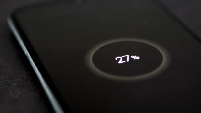 Smartphone Charging Battery Level. Close-Up