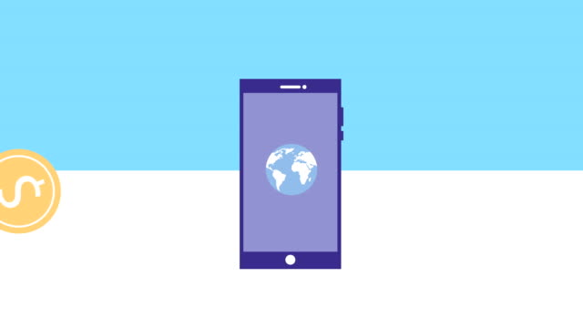 smartphone device with bitcoin animation