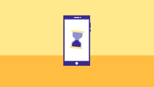 smartphone device with hourglass time animation