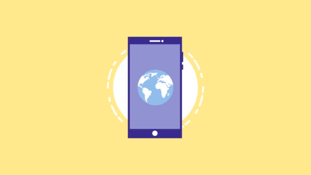 smartphone device with money and world planet