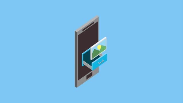 stockvideo's en b-roll-footage met smartphone isometrische concept - isometric