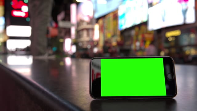 Smartphone mobile crowd Time Square people green screen chromakey NYC video