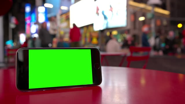 Smartphone mobile Time Square people green screen chromakey NYC crowd video