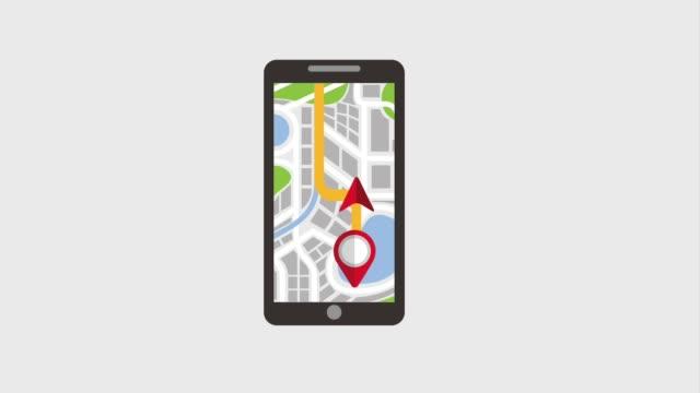 vídeos y material grabado en eventos de stock de aplicación de mapa de puntero smartphone navegación - villa asentamiento humano