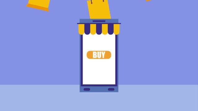 vídeos de stock e filmes b-roll de smartphone online shopping buy bags icon vector ilustration - shop icon