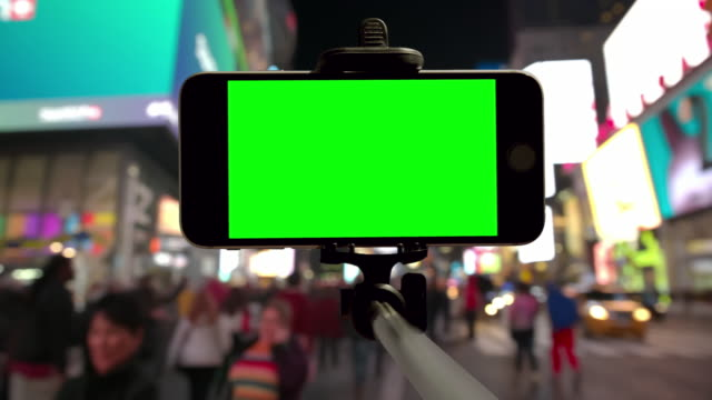 Smartphone Time Square people crowd green screen chromakey NYC video