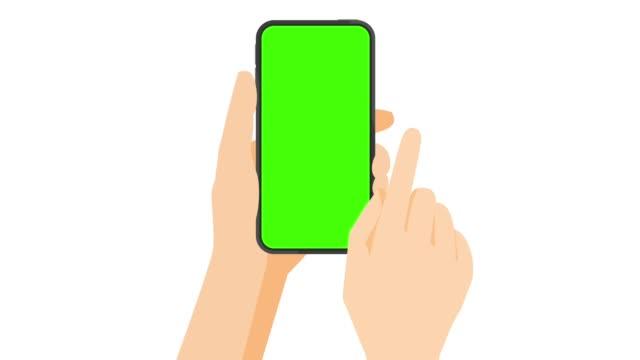 tocco touchscreen dello smartphone, scorrimento rapido e diffusione dei gesti della mano sullo schermo verde - illustrazione video stock e b–roll
