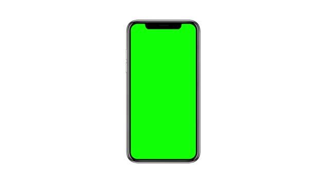 vídeos de stock, filmes e b-roll de smartphone com tela verde em branco, vista frontal, isolado em fundo branco - smartphone