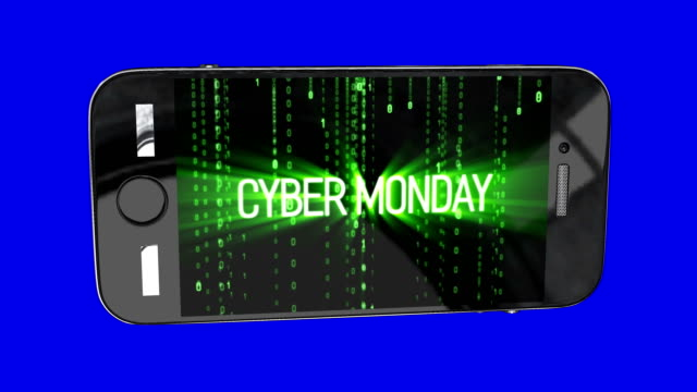 Smartphone with Cyber monday sale symbol and online sales concept as an internet holiday celebration for product discounts on websites on binary background.
