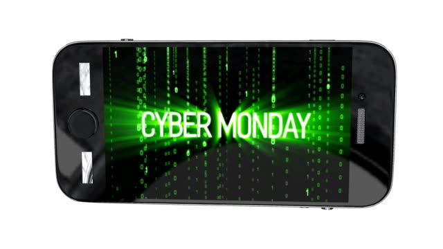 smartphone with cyber monday sale symbol and online sales concept as an internet holiday celebration for product discounts on websites on binary background. - cyber monday стоковые видео и кадры b-roll