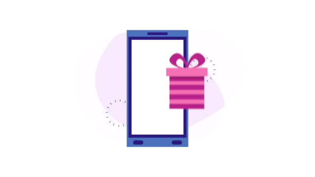 smartphone with ecommerce application and gifts