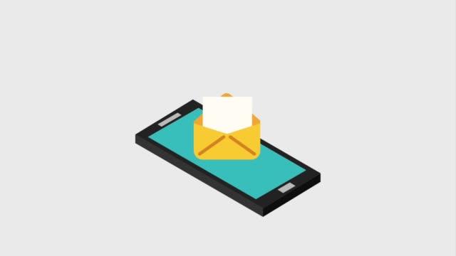 smartphone mit umschlagnachricht - e mail stock-videos und b-roll-filmmaterial