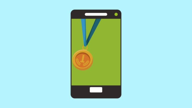 smartphone with medals podium championship animation video