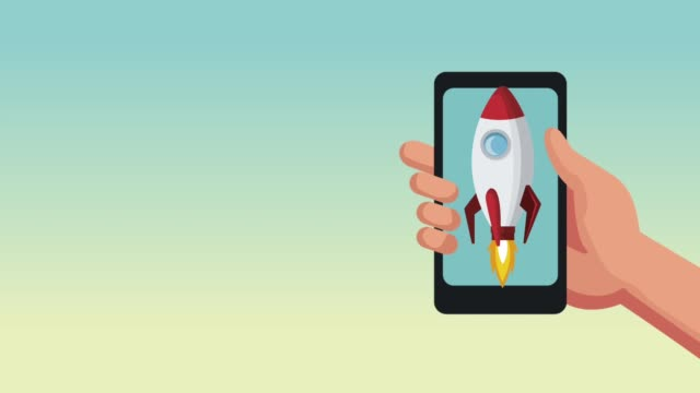 Smartphone with space rocket HD animation
