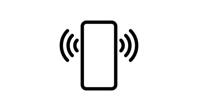 帶波的智慧手機-一套可迴圈的符號圖示-黑色簡單的平面 - icons 個影片檔及 b 捲影像