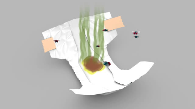 Smelly Diaper. 3D animation in cartoon style. Alpha channel, loopable. video