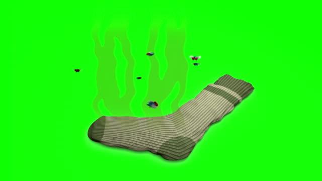illaluktande socka. 3d-animation i tecknad stil. grön skärm, loopable. - strumpa bildbanksvideor och videomaterial från bakom kulisserna