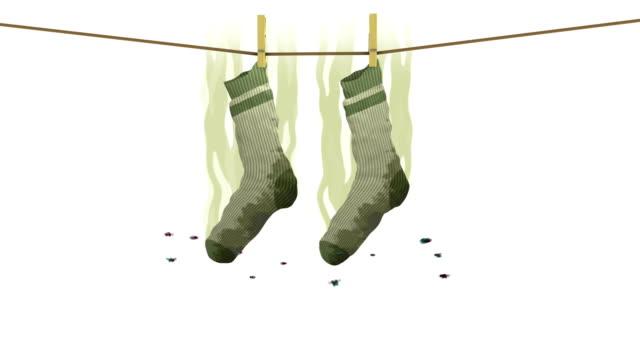 vídeos y material grabado en eventos de stock de calcetines malolientes en signo de prohibido. animación 3d en estilo de dibujos animados. - social media