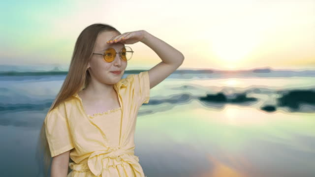 Smile Blonde Girl Look Far Away Sea Background