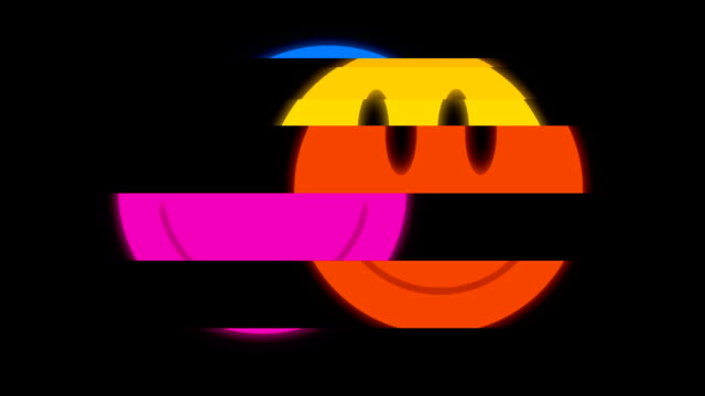Smile symbol on digital old tv screen seamless loop glitch interference animation new dynamic retro joyful colorful retro vintage video footage video