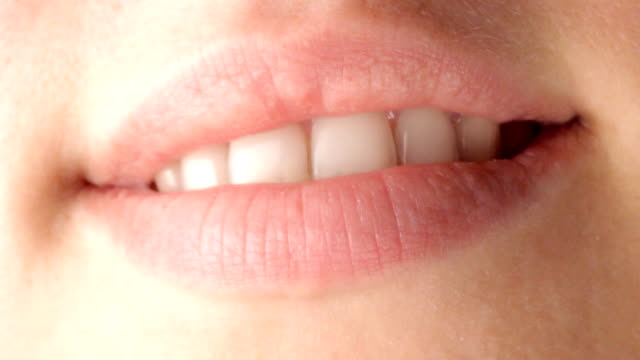Smile HD sequence, detail of a girl mouth human lips stock videos & royalty-free footage