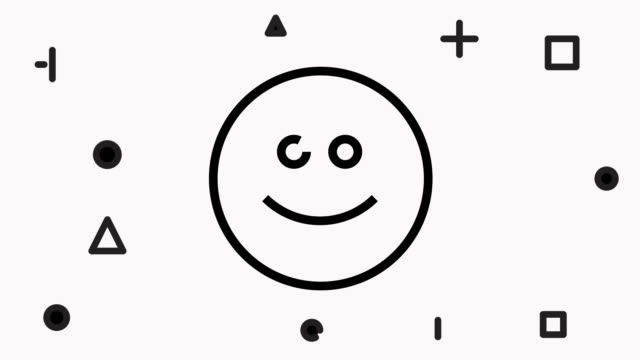 smiley face line icon animation - smiley stock-videos und b-roll-filmmaterial