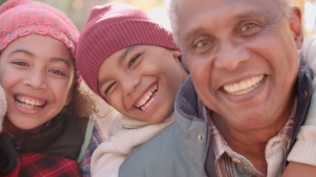 Smiling African American grandparents with grandchildren, close up video