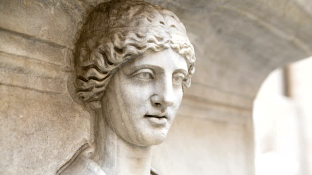 Smiling ancient Rome's sculpture. Animated image video