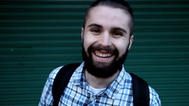 Smiling at camera video