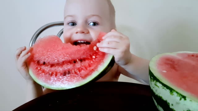 Smiling baby eating watermelon video