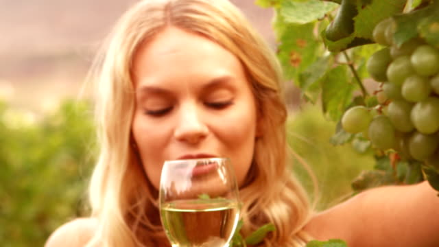 Smiling blonde smelling wine in slow motion video