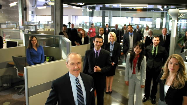 Smiling business team video
