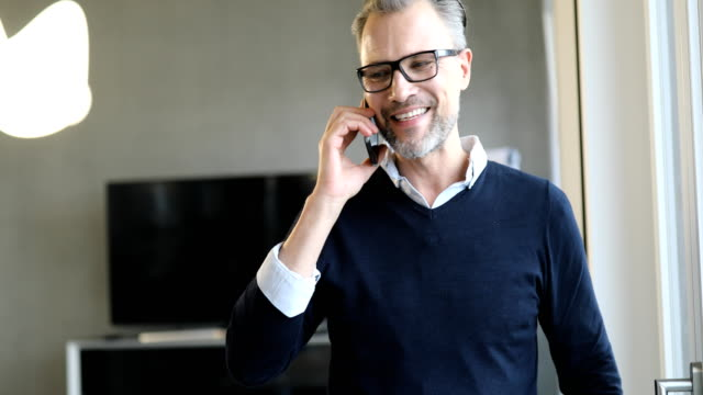 Smiling businessman discussing on mobile phone