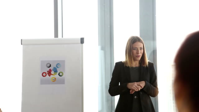 Smiling businesswoman leading a meeting in conference room video