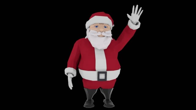 Smiling cartoon Santa Claus waving his hand on black background. Alpha channel included. 3d animation