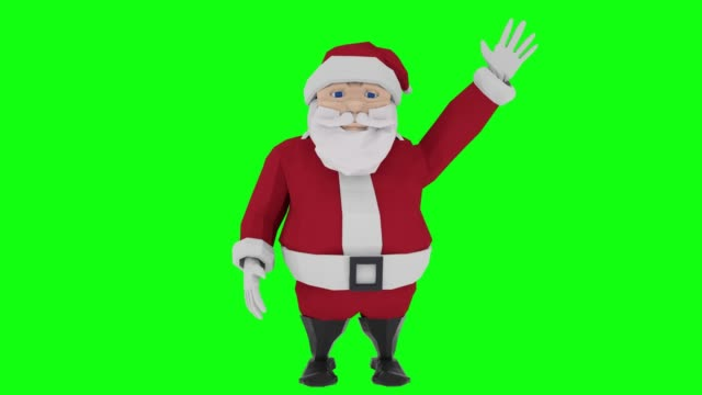 Smiling cartoon Santa Claus waving his hand on green screen. 3d animation
