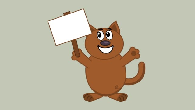 smiling cat with a poster - animation