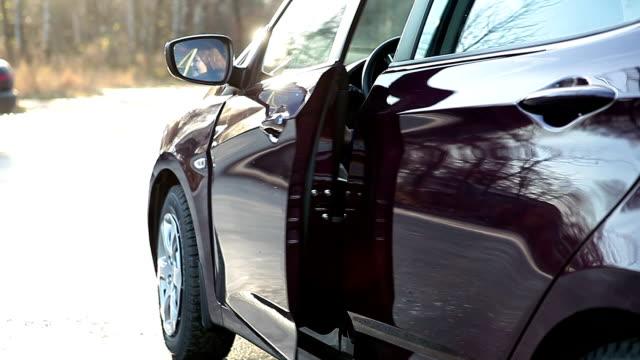 driver sorridente in aperto sportello d'auto - sportello d'auto video stock e b–roll