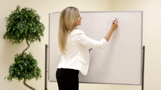 uśmiechnięta kobieta biznesu trener narysuj dzieci rysunek na tablicy - zagadnienia filmów i materiałów b-roll
