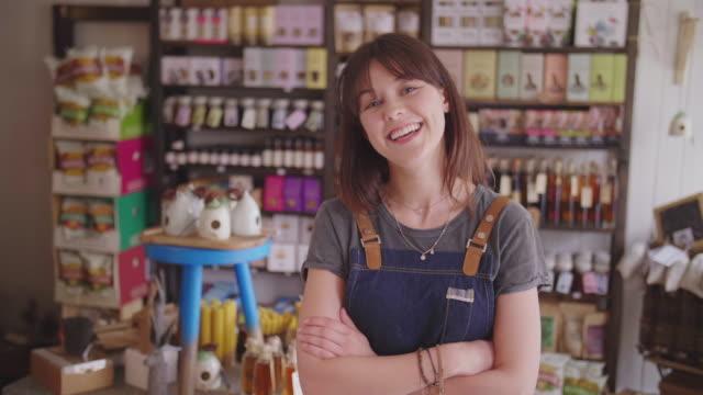 Smiling Female Deli Owner Standing Arms Crossed In Delicatessen video