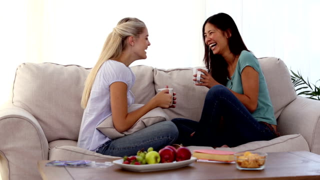 Smiling friends chatting together video