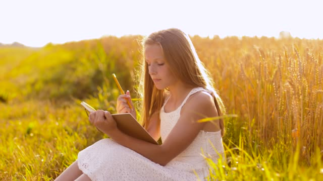 smiling girl writing to diary on cereal field - vídeo