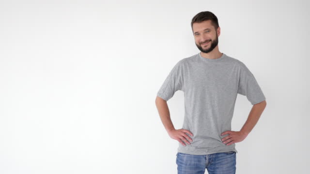 Smiling man showing on the right, advertising some product video