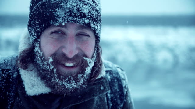 Smiling man with beard in snow