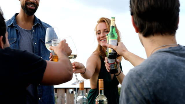 Smiling multi-ethnic friends celebrating reunion Multi-ethnic friends toasting drinks during reunion at building terrace. Happy men and women are celebrating during barbecue party at rooftop. They are in casuals. party social event stock videos & royalty-free footage