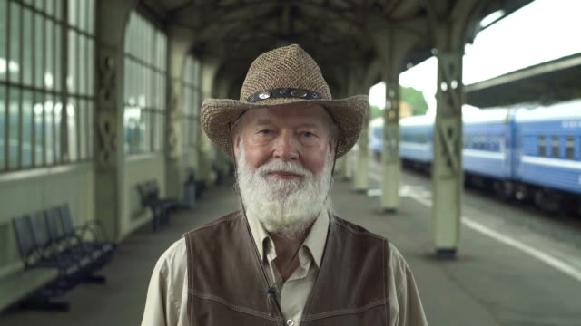 Smiling Old Man In Hat video